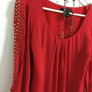 {WHBM} Red Flowy Silk Shirt